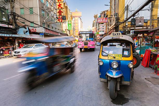 Tuk-tuk taxi in Chinatown, Bangkok, Thailand stock photo