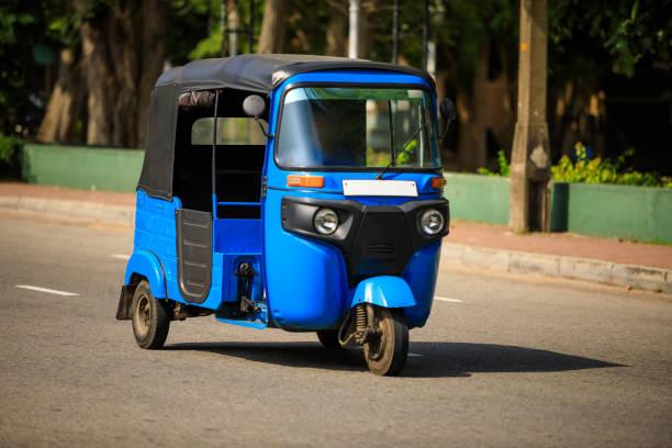 Tuktuk taxi on the street, Sri Lanka Tuktuk - motorized development of the traditional pulled rickshaw three wheel motorcycle stock pictures, royalty-free photos & images