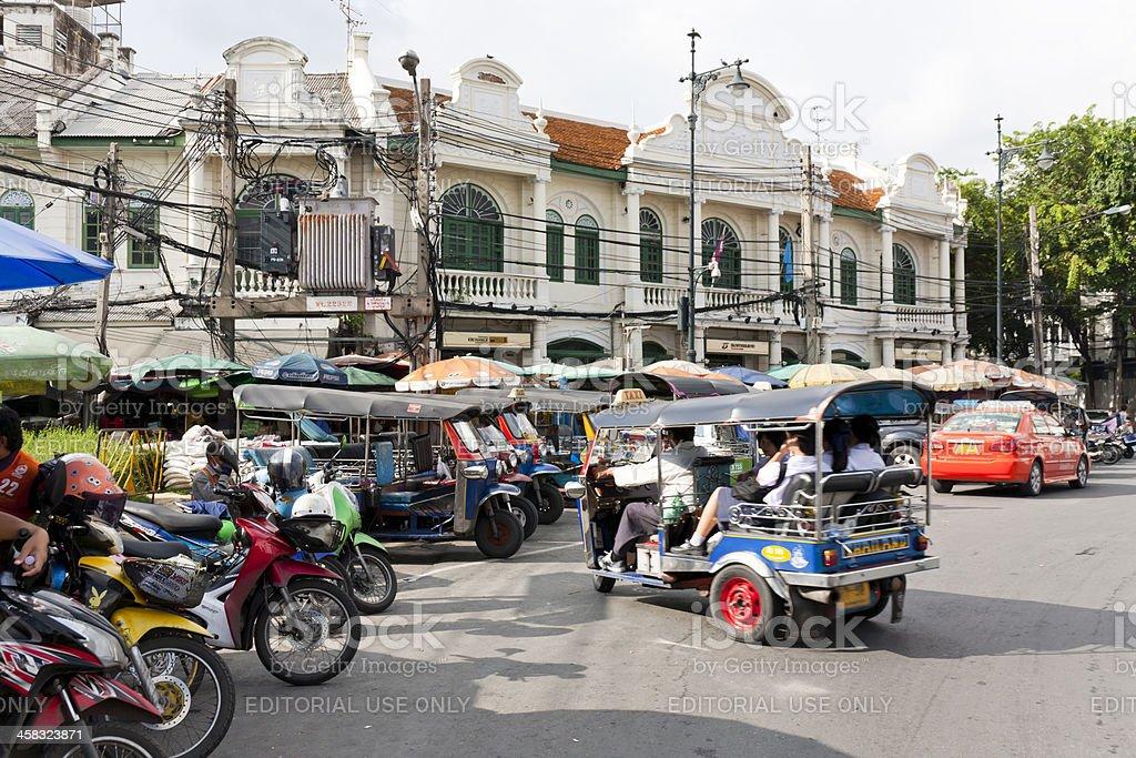 Tuk-tuk taxies in Bangkok royalty-free stock photo