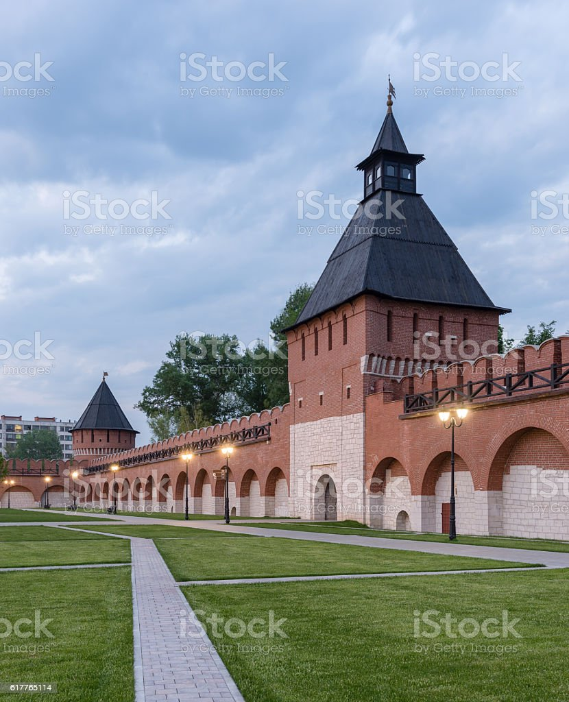 Tula city, Russia. Tower gate Ivanovo of the Tula Kremlin stock photo