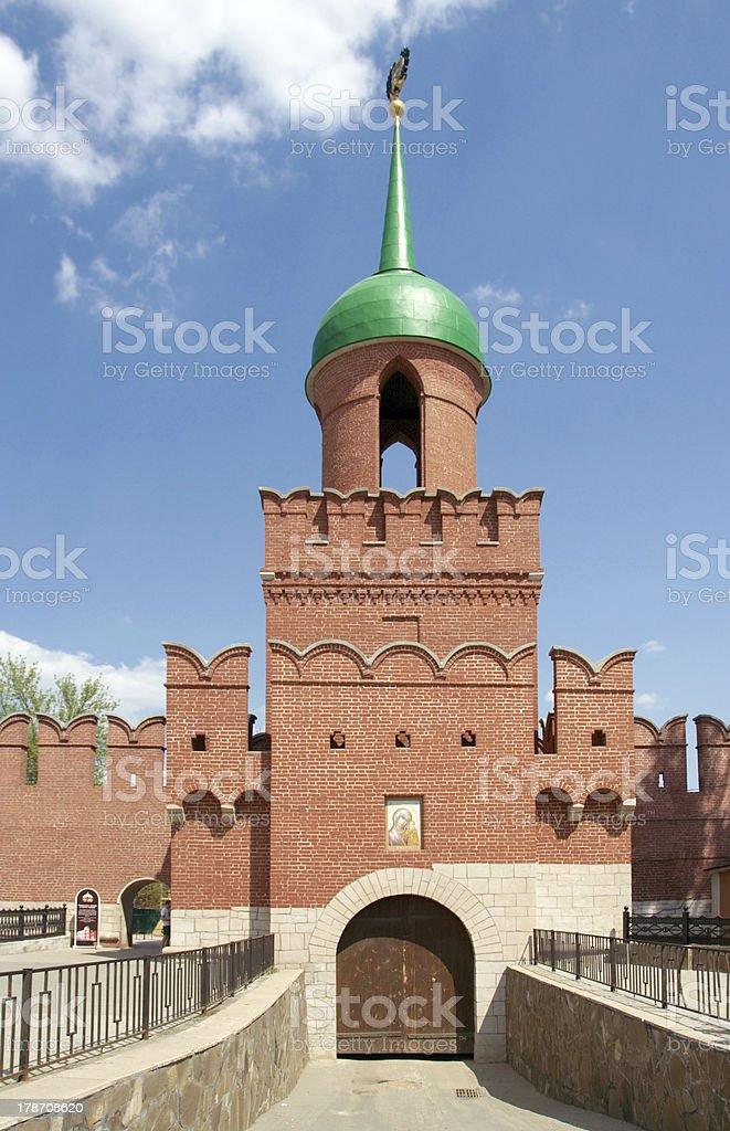 Tula Kremlin. Tower of Odoevsky Gate stock photo