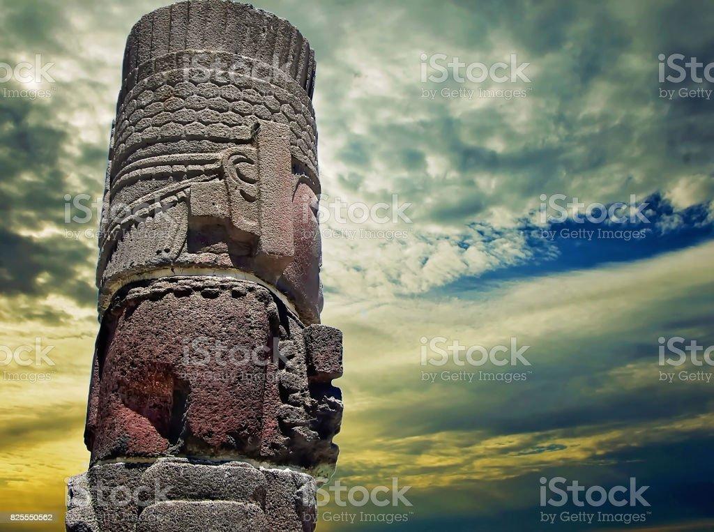 Tula pyramids and statues stock photo