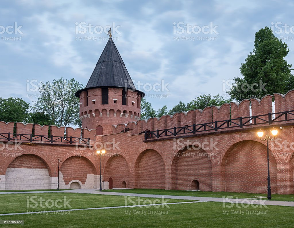 Tula, Russia. Tower of the Tula Kremlin in the evening. stock photo