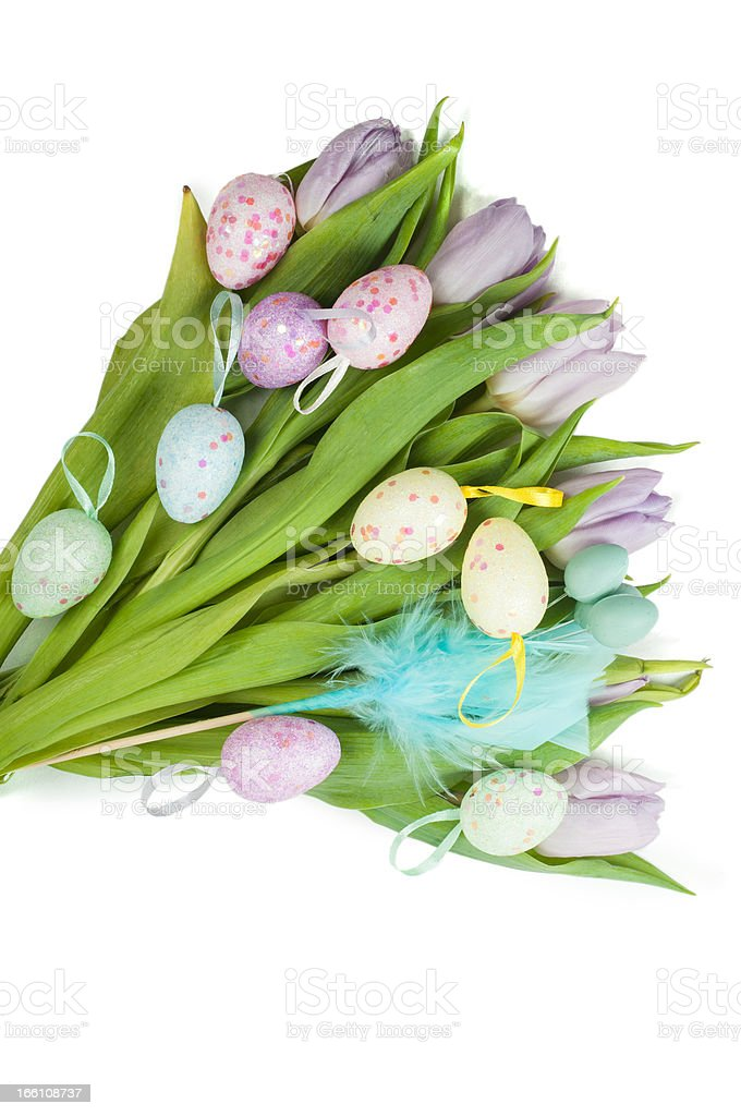 Tulip bouquet and Easter eggs royalty-free stock photo