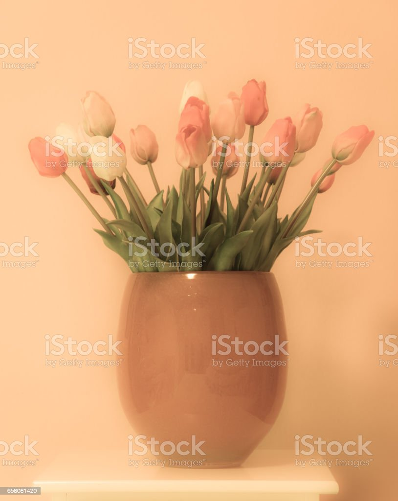 Tulip flower bouquet in a vase royalty-free stock photo
