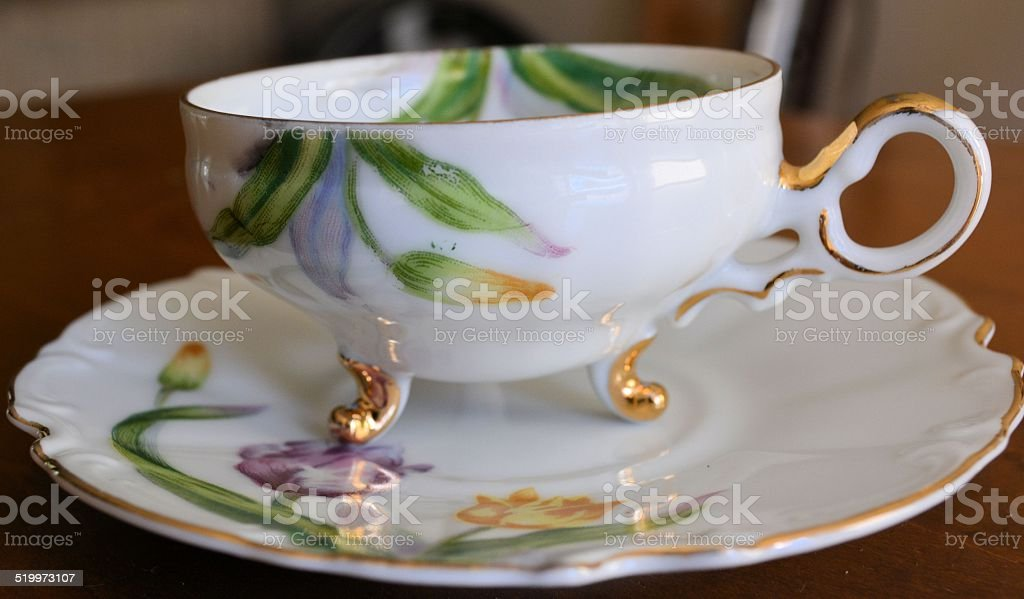 Tulip Tea Cup with Saucer stock photo