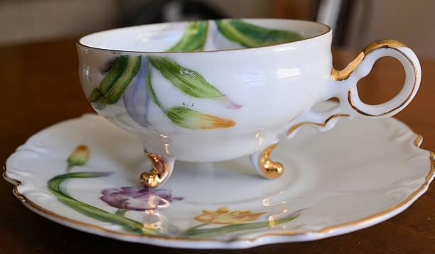 Tulip Tea Cup with Saucer stock photo