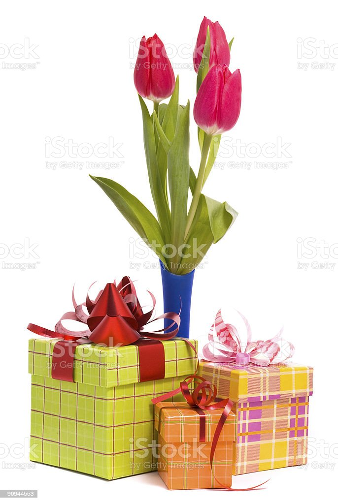 Tulips and gift box royalty-free stock photo