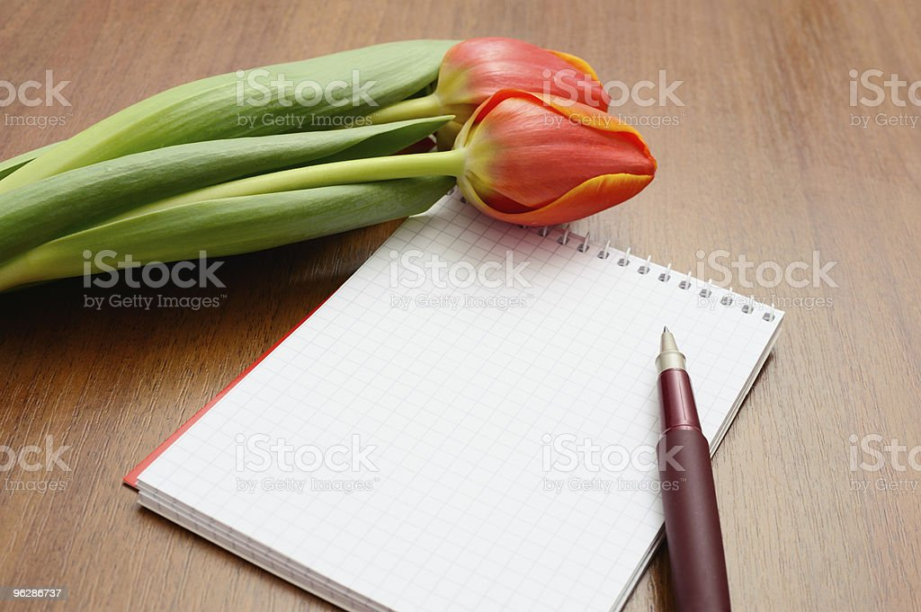 Tulips and notebook royalty-free stock photo