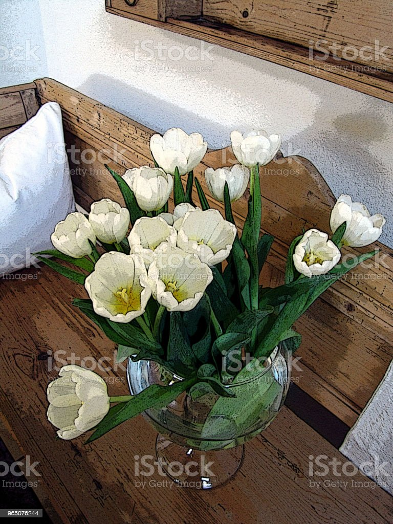 Tulips and Silver Vase zbiór zdjęć royalty-free