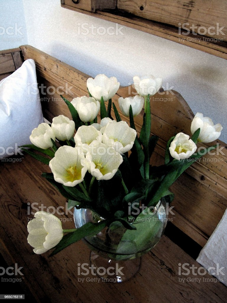 Tulips and Silver Vase royalty-free stock photo