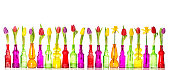Tulips and daffodil flowers in glass bottles on white background. Colorful spring decoration