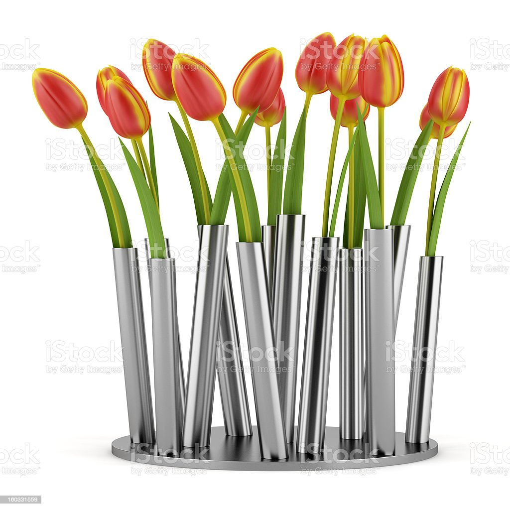 tulips in modern metallic vase isolated on white background royalty-free stock photo