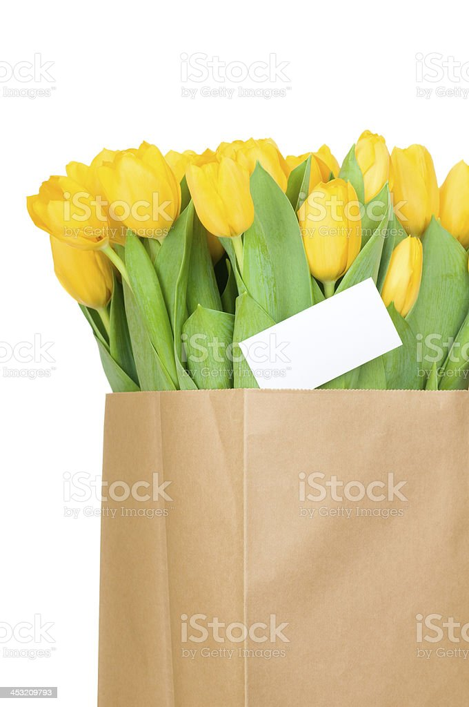 Tulips in the paper bag and a greeting card royalty-free stock photo