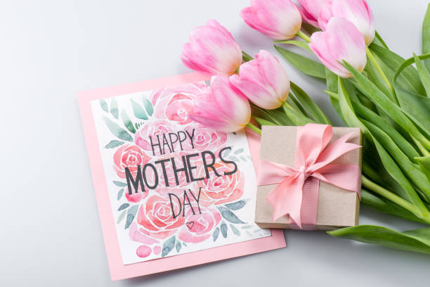 tulips, postcard and gift - mothers day stock pictures, royalty-free photos & images