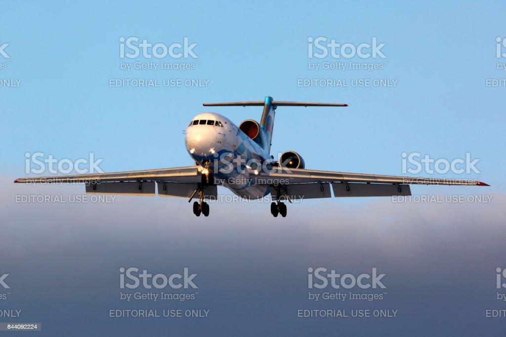 Tulpar Air Yakovlev Yak-42D RA-42365 landing at Sheremetyevo international airport. stock photo