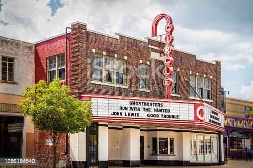 07_06_2020 Tulsa OK USA - Retro Circle Cinema - Oldest movie theatre opened 1928 only nonprofit cinema in Tulsa near Route 66 with neon sign