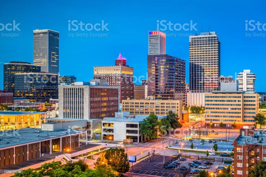 Tulsa, Oklahoma, USA Tulsa, Oklahoma, USA downtown city skyline at twilight. Aerial View Stock Photo