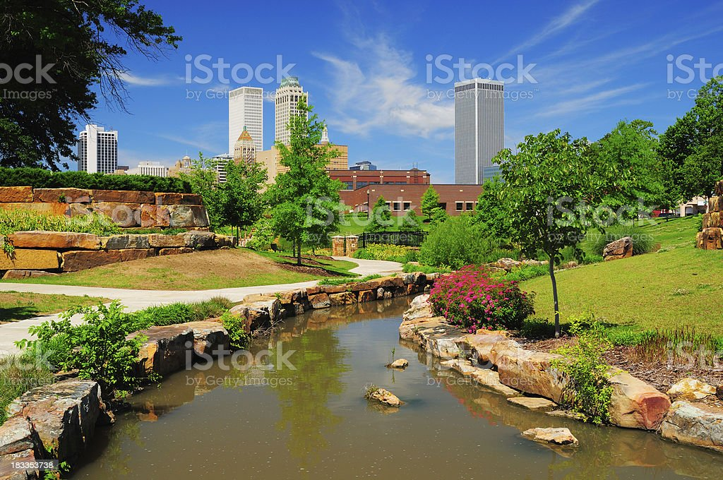 Tulsa skyline and park stock photo