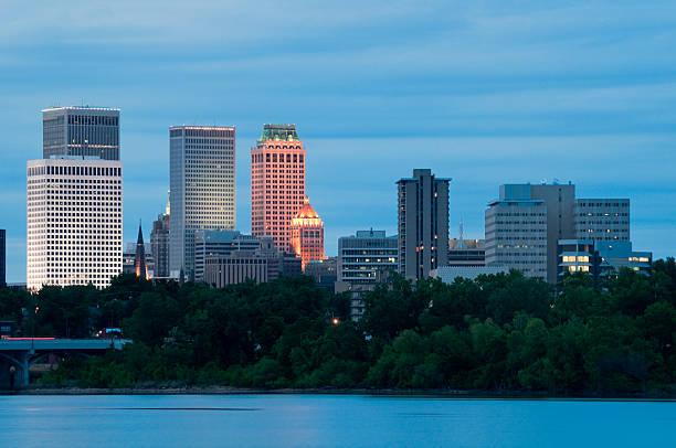 Tulsa Skyline at Dusk stock photo