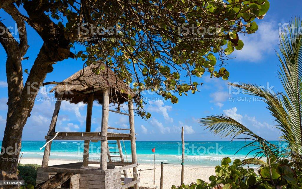 Tulum baywatch tower beach in Riviera Maya stock photo