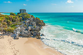 The beautiful beach and Mayan God of Winds temple along the Caribbean Sea, Quintana Roo State, Yucatan Peninsula, Mexico.