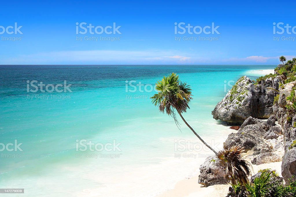 Tulum beach near Cancun, Mayan Riviera stock photo