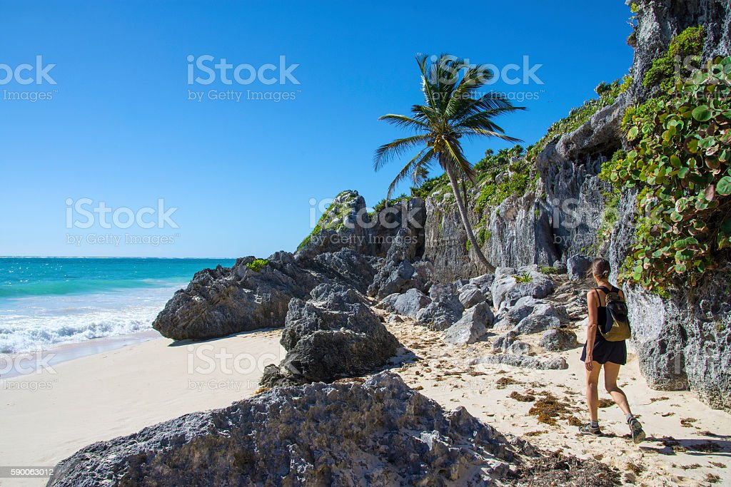 Tulum Beach walk stock photo