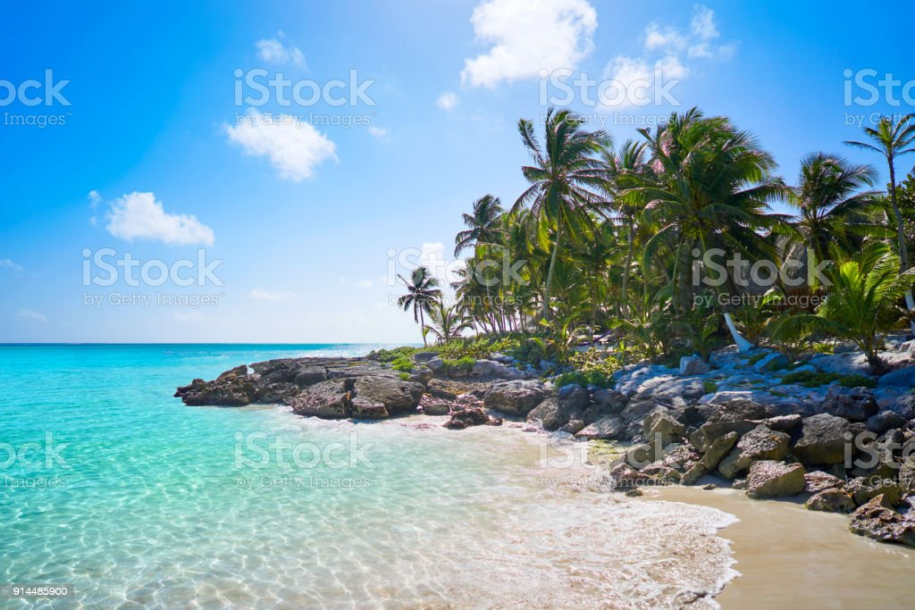 Tulum Caribbean beach in Riviera Maya stock photo