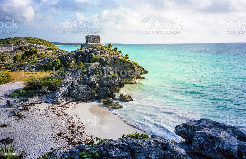 Tulum coast stock photo