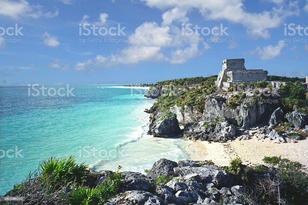 Tulum Maya ruins stock photo