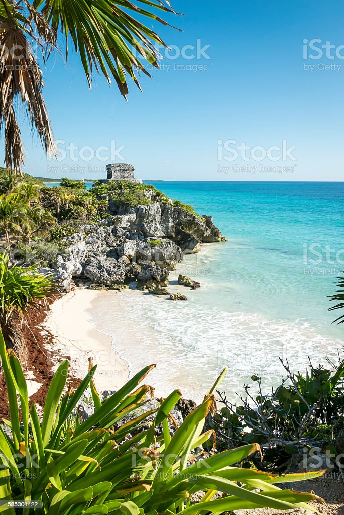 Tulum mayan ruins in yucatan mexico stock photo