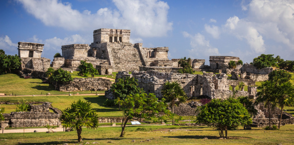 Mayan Ruins of Tulum in Quintana Roo, Mexico. This Ancient Ruins are Located at the beach of the Caribbean Sea in the Yucatan Peninsula.