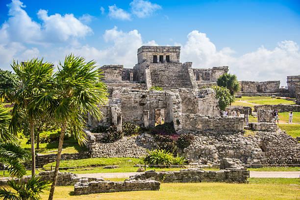Tulum Mayan Ruins, Traveling Caribbean, Quintana Roo, Beautiful Mayan Ruins Besides Caribbean Sea. Riviera Maya, Traveling America. ruined stock pictures, royalty-free photos & images
