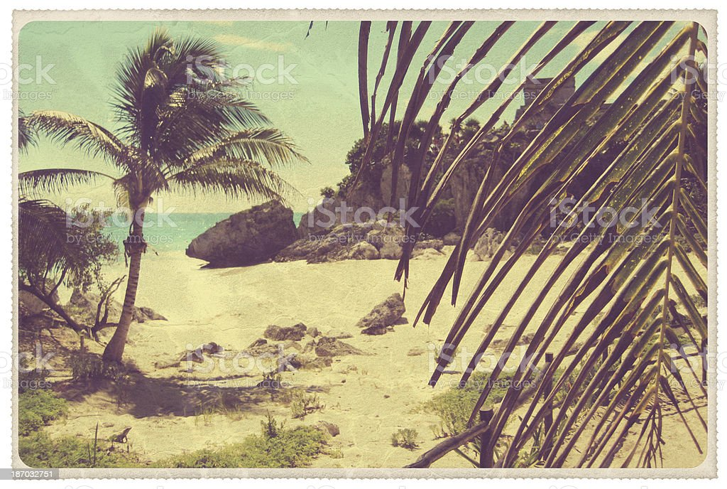 Tulum Mexico Beach Vintage Postcard Stock Photo More Pictures Of