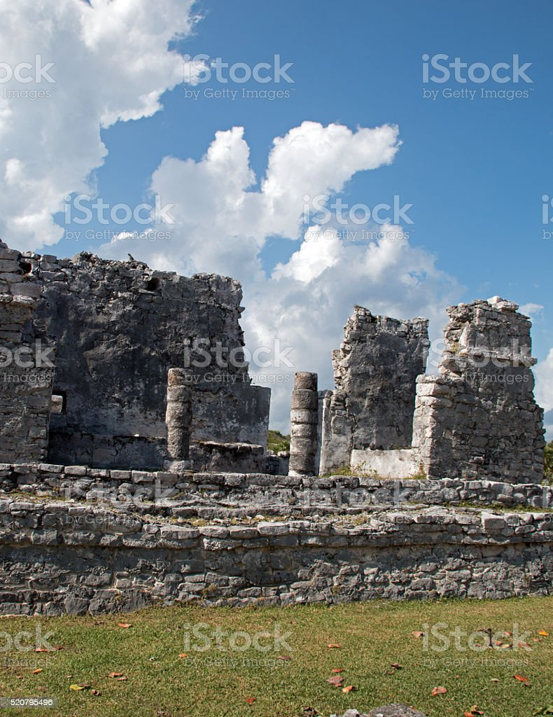 Tulum Mexico Mayan Ruins House of the Columns stock photo