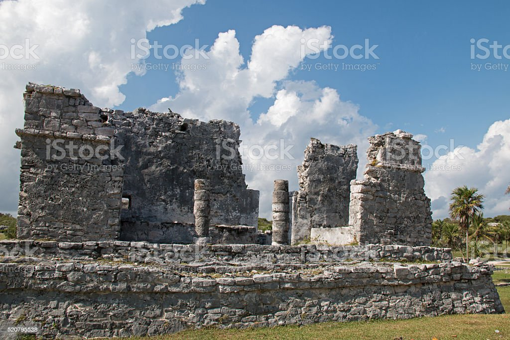 Tulum Mexico Mayan Ruins - House of the Columns stock photo