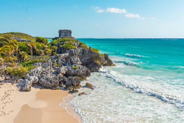 Tulum Ruins and Beach, Yucatan, Mexico stock photo