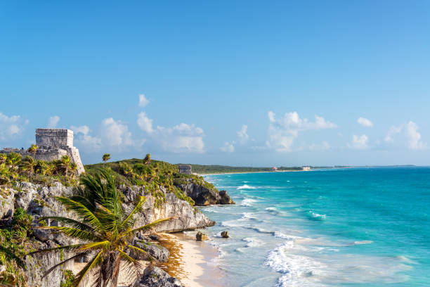 Tulum Ruins and Caribbean Sea stock photo