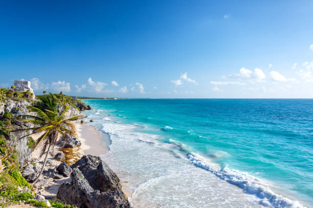 Tulum Ruins and Caribbean Wide Angle stock photo