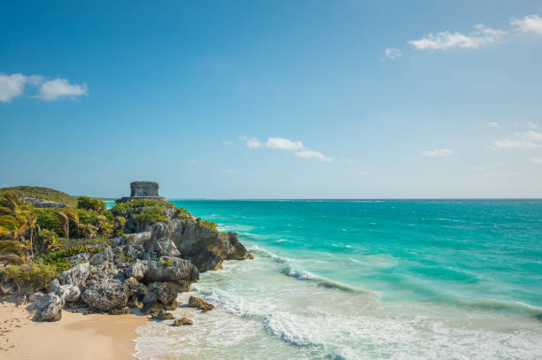tulum ruins by the caribbean sea - playa del carmen stock photos and pictures