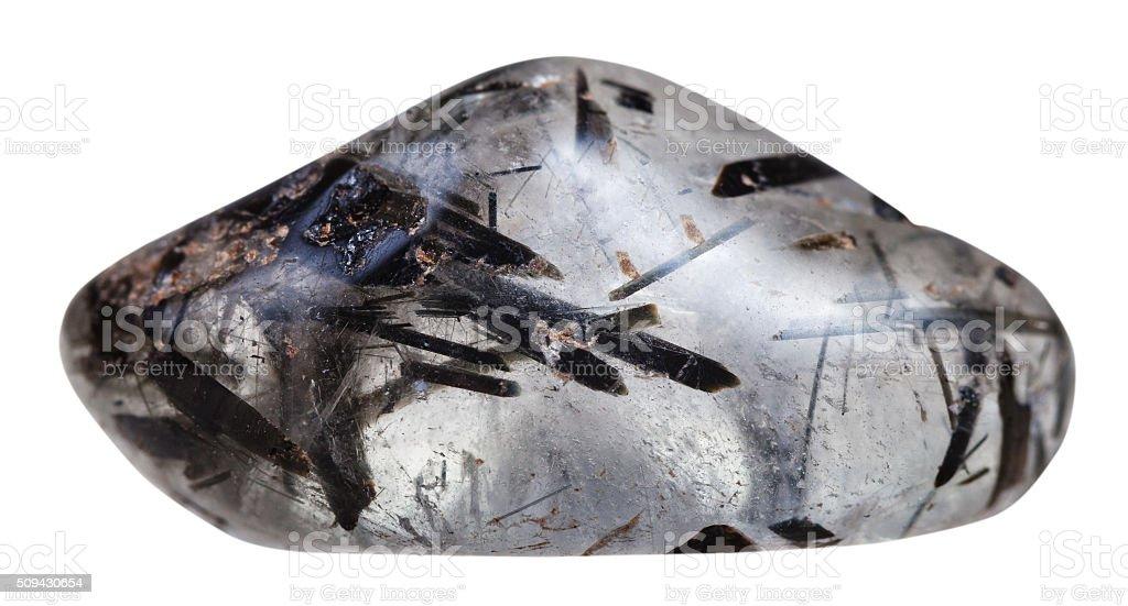 tumbled quartz hair worm with tourmaline crystals stock photo