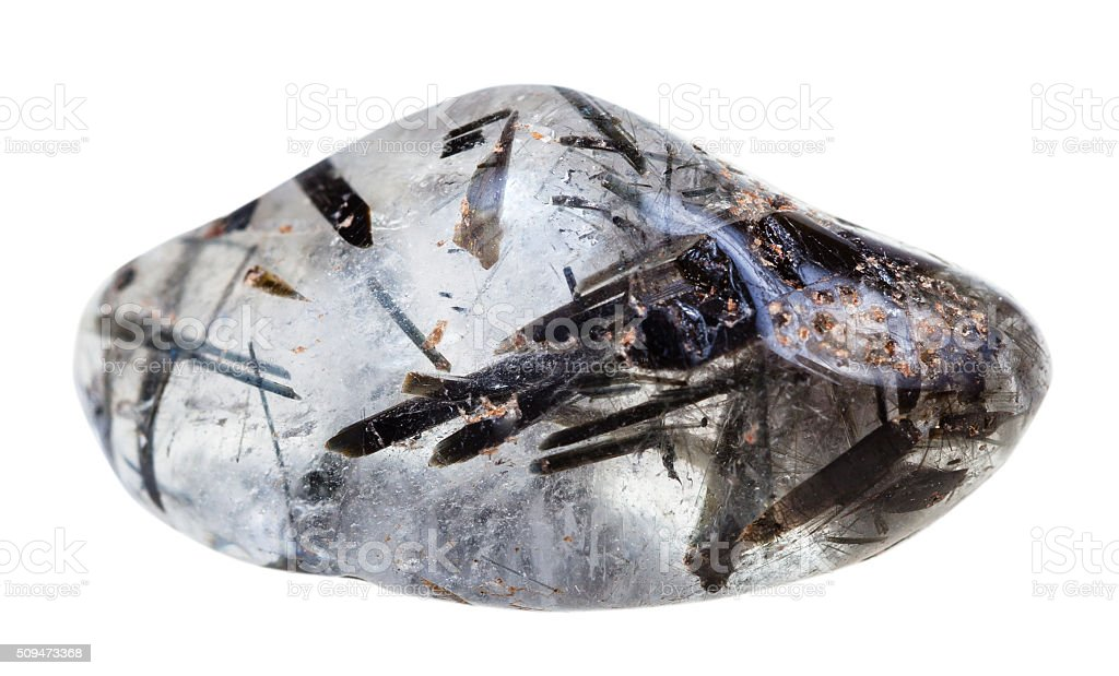 tumbled quartz with schorl crystals gemstone stock photo