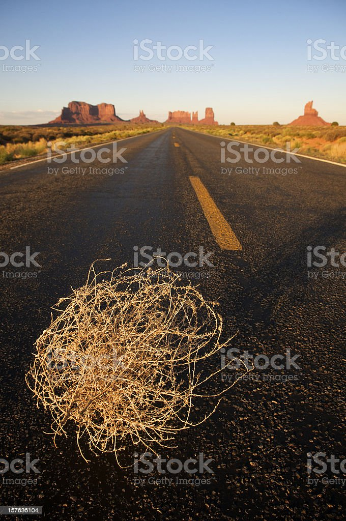 Tumbleweed Highway at Monument Valley stock photo