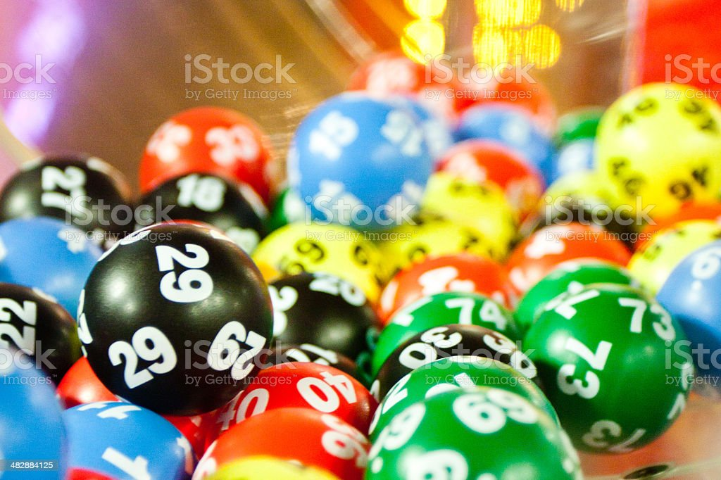 Tumbling lottery balls stock photo