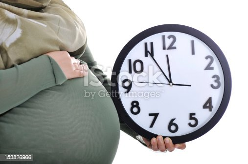 istock Tummy of pregnant woman with clock 153826966