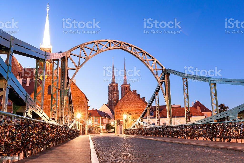 Tumski Bridge on Tum island on evening. Wroclaw, Poland stock photo