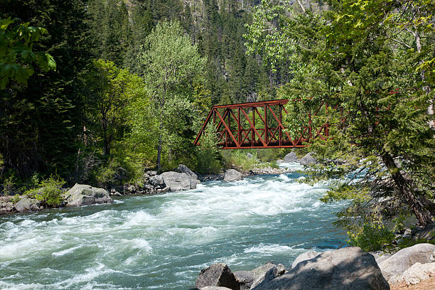 Tumwater Canyon Bridge stock photo