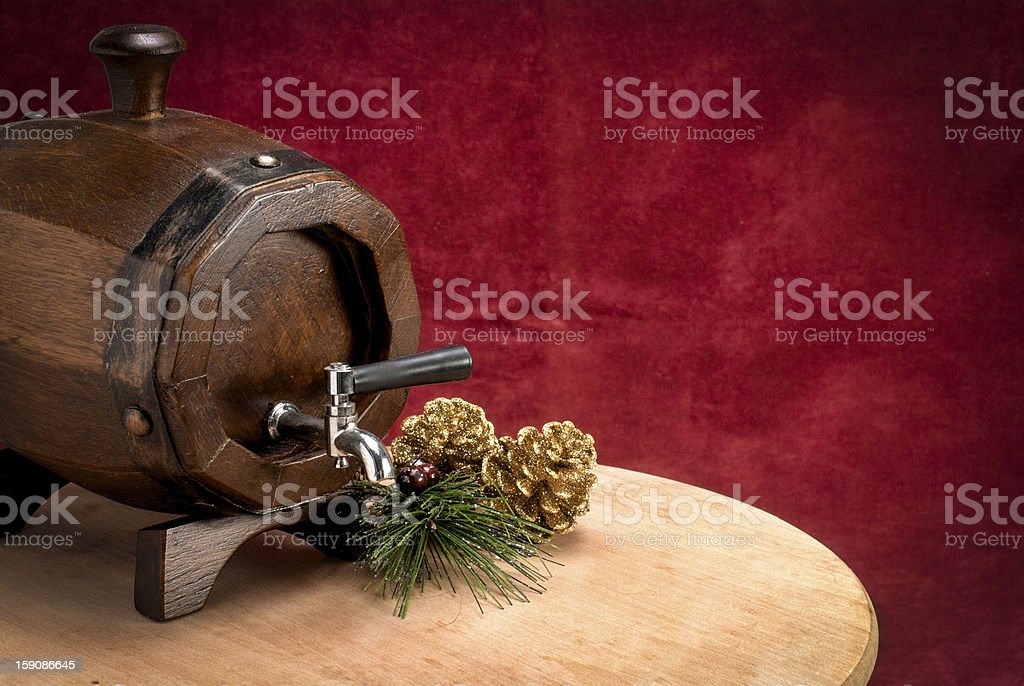 Tun on Table with New Year Ornament royalty-free stock photo