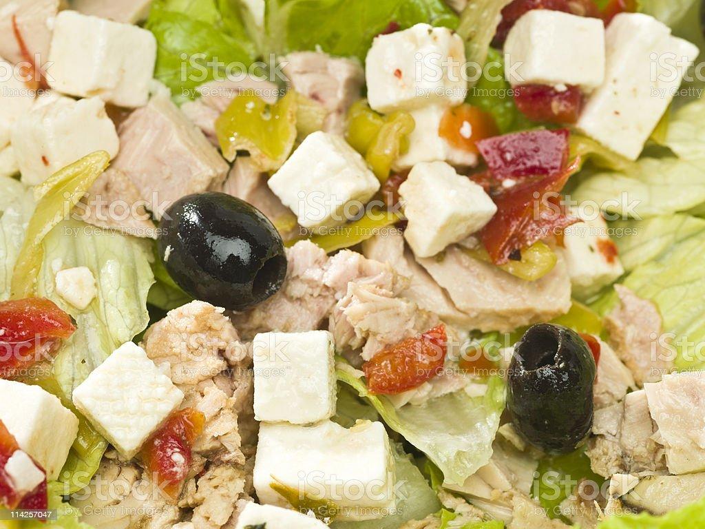 Tuna and feta cheese salad  background royalty-free stock photo